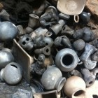 Broken ceramics used to pack the kiln